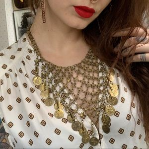 Vintage Chain Coin Hippie Boho Collar Necklace